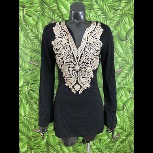 INC Embroidered Tunic Boho Top Size Medium